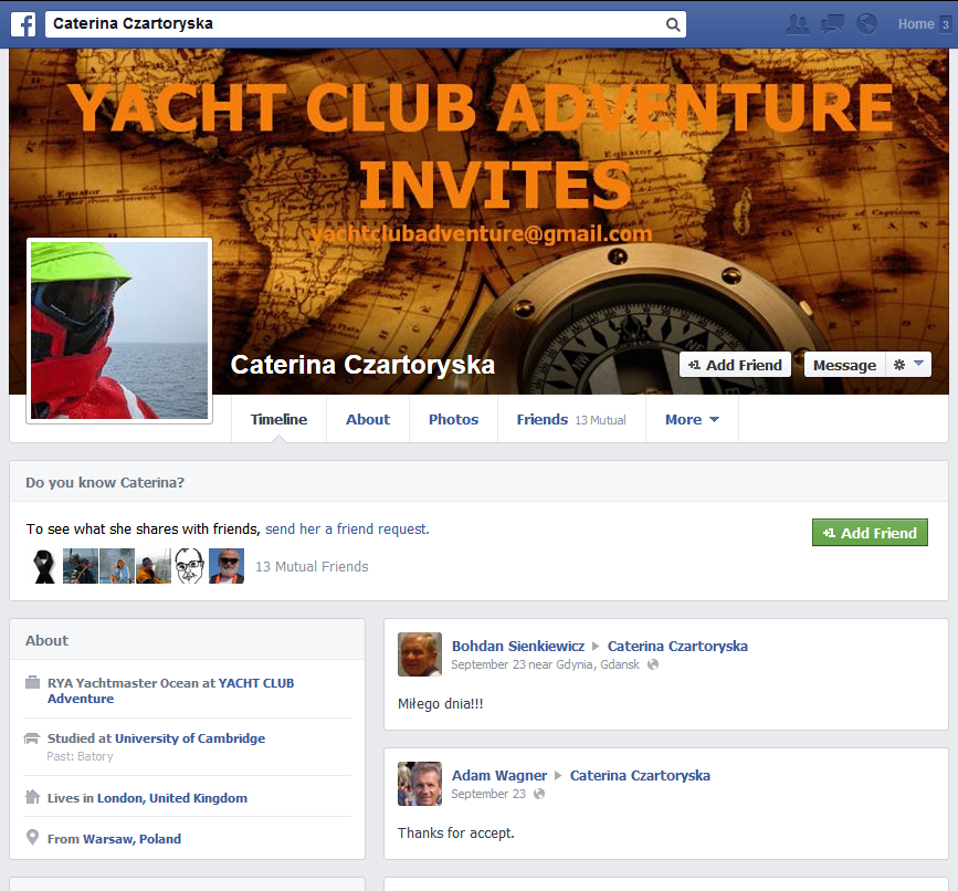 Caterine Czartoryska YACHT CLUB ADVENTURE YACHT CLUB ADVENTURE – mały przekręt czy wielka firma? YACHT CLUB ADVENTURE – mały przekręt czy wielka firma? czartoryska