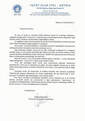 """copernicus Oświadczenie Yacht Klubu Stal Gdynia w sprawie jachtu """"Copernicus"""" Copernicus o  wiadczenie 297x420"""