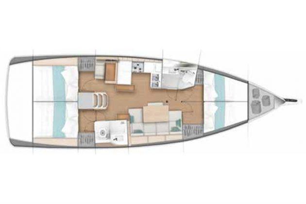 Rejs Majorka Teneryfa rejs Rejs stażowy Majorka – Faro – Madera – Teneryfa – październik 2019 Sun Odyssey 440 4cab layout lower deck 630x420